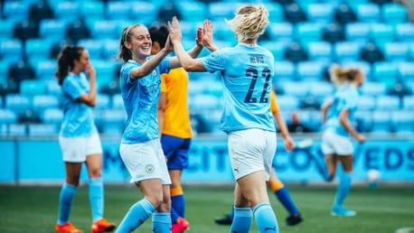 GET IN: Keira Walsh salutes Sam Mewis after her debut goal