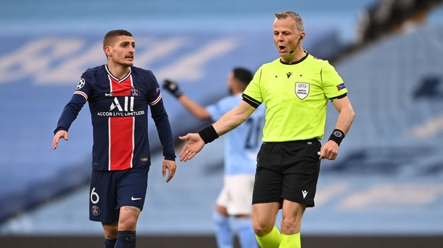 EARLY DRAMA: PSG are denied an early penalty after a VAR review