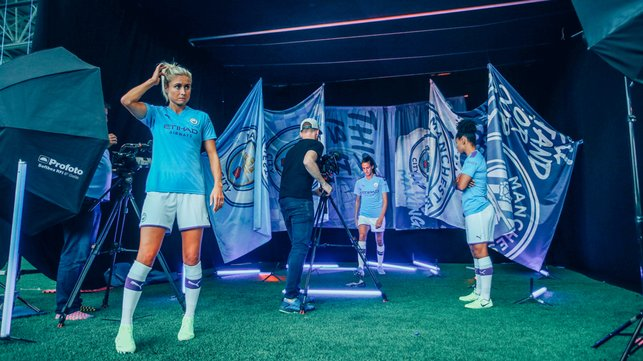 TIME OUT : Steph Houghton and Co take a breather during the photo session