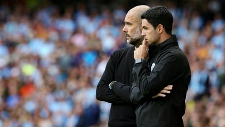 IN TANDEM: Pep Guardiola and Mikel Arteta deep in thought.