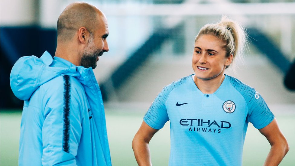 DRIVING FORCE : Pep and Steph Houghton share their thoughts