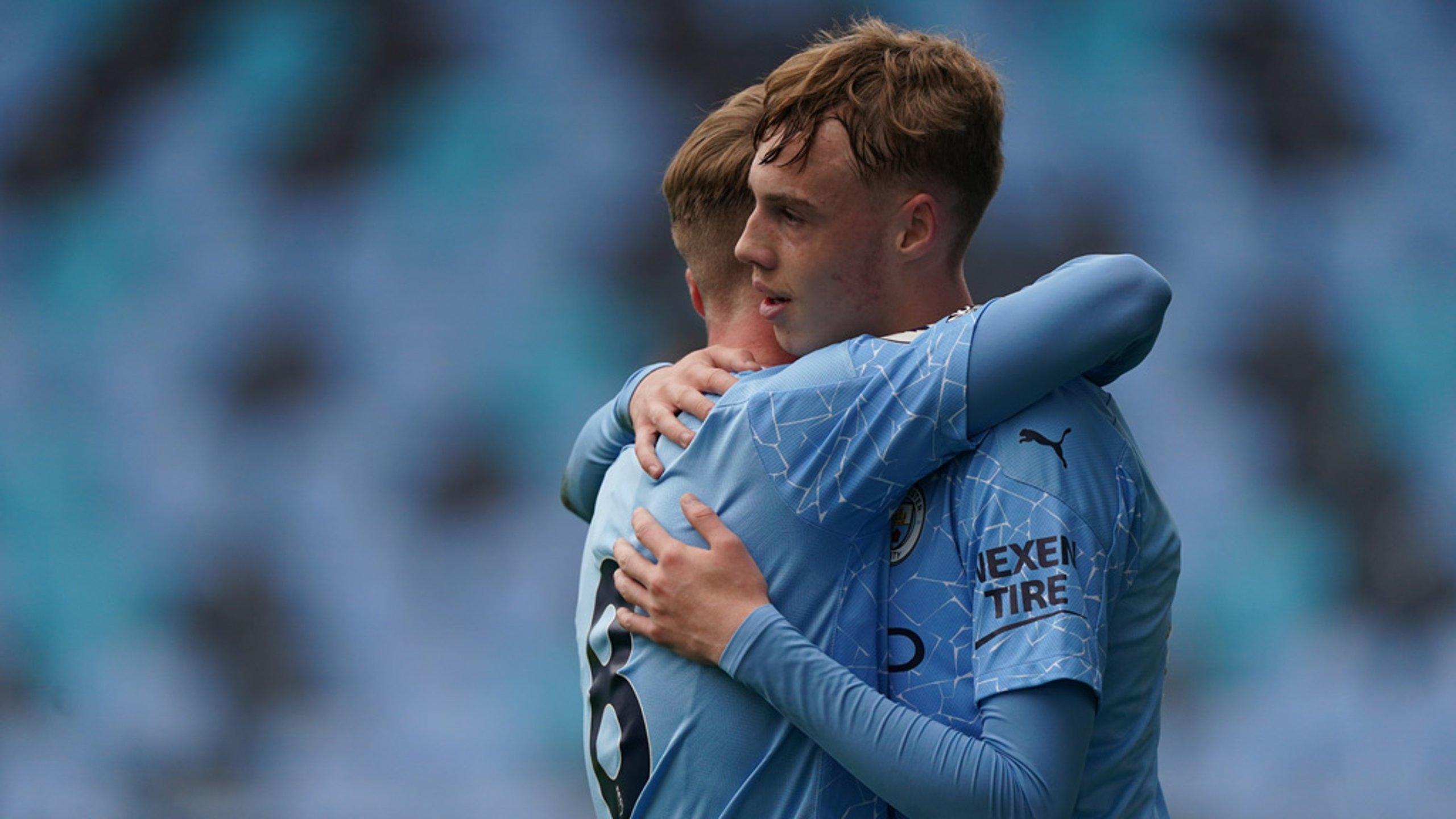 DAYLIGHT: Cole Palmer celebrates with Tommy Doyle after grabbing City's second