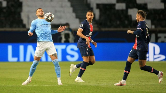 CLOSE CONTROL: Kyle Walker chests the ball down under pressure from Kylian Mbappe and Neymar