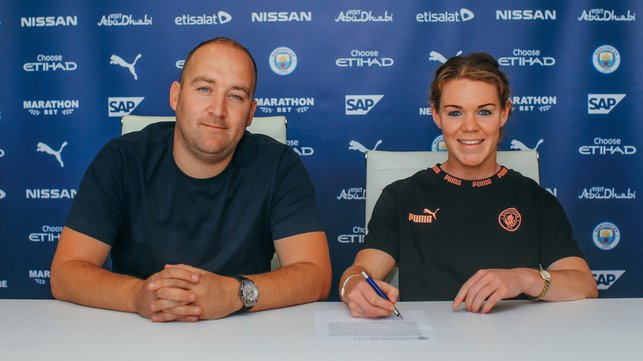 PEN TO PAPER : The defender commits her immediate future to the Club