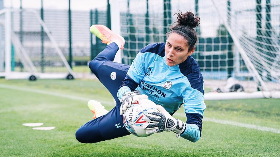 AT FULL STRETCH: Karima Benameur Taieb gets down to work