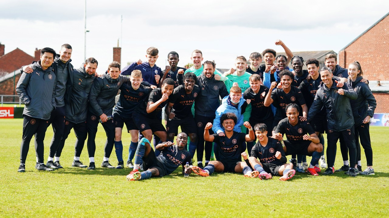TITLE JOY: For City's Under-18 players and staff