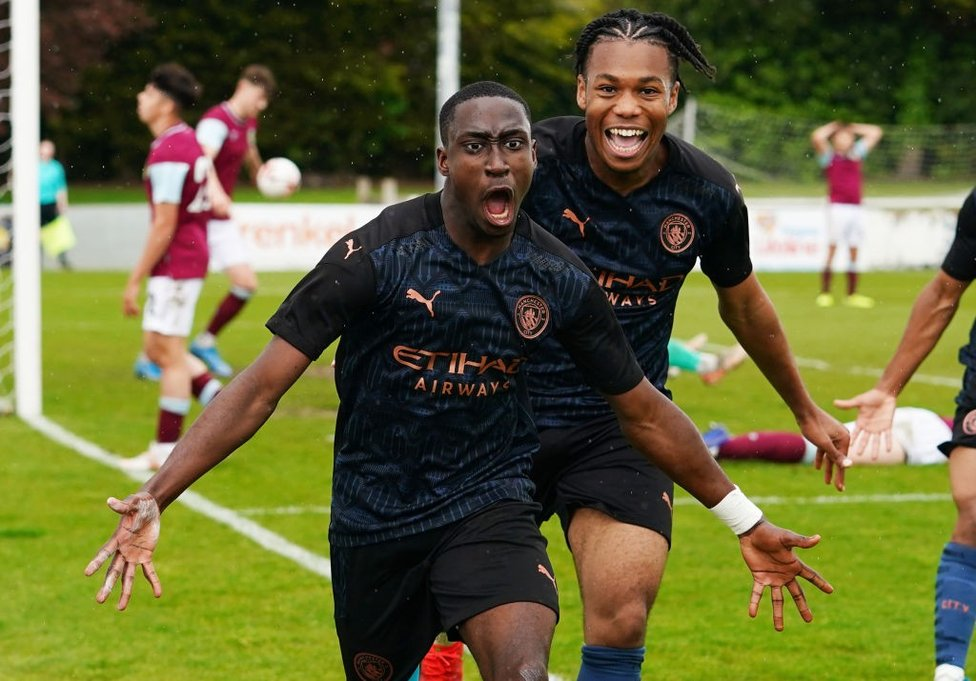 CRUCIAL STRIKE: Carlos Borges celebrates his decisive goal at Burnley which sealed the Under-18 Premier League North title