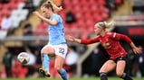 ACTION STATIONS: Sam Mewis takes the fight to Manchester United in the FA Women's Super League derby