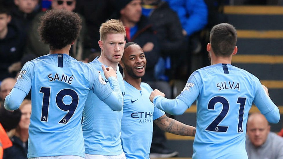 LET THE GOOD TIMES ROLL : Raheem Sterling celebrates opening the scoring for City.