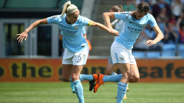 CITY TWO STEP: A novel celebration for Jill and her City and England team-mate Steph Houghton