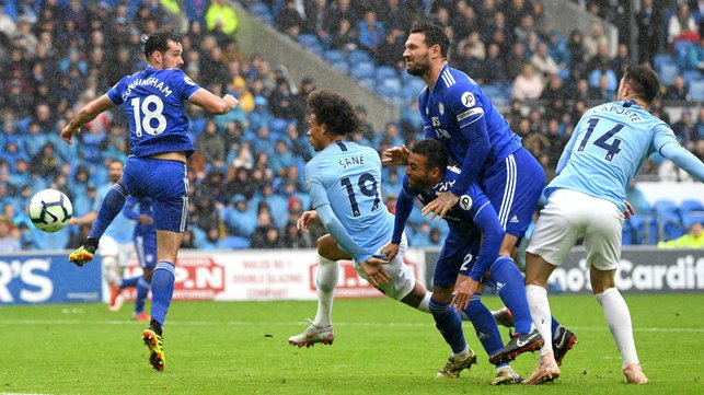SO CLOSE : Leroy Sane's header brushed the post