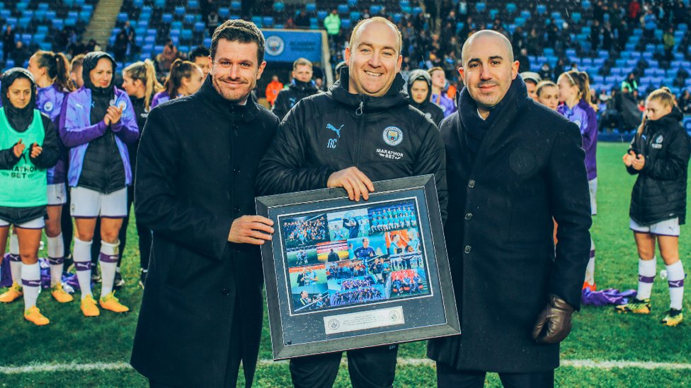 SOUVENIR : Nick is presented with a memento of his time at the Club by Head of Women's Football Gavin Makel and Chief Operating Officer Omar Berrada