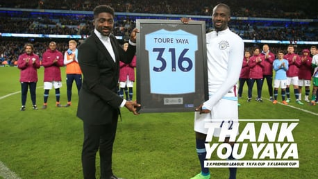 THANK YOU YAYA: Toure was given a fine send-off at the Etihad on Wednesday