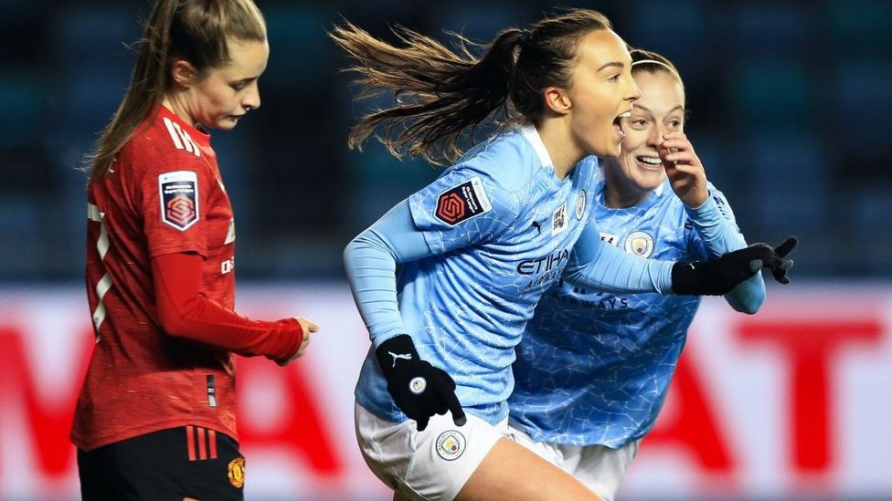 DERBY DELIGHT: Caroline Weir's stunning chip capped off a dominant 3-0 win over Manchester United