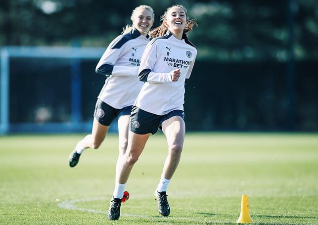 WEIR HAVING A LAUGH : Caroline Weir and Esme Morgan, in high spirits!