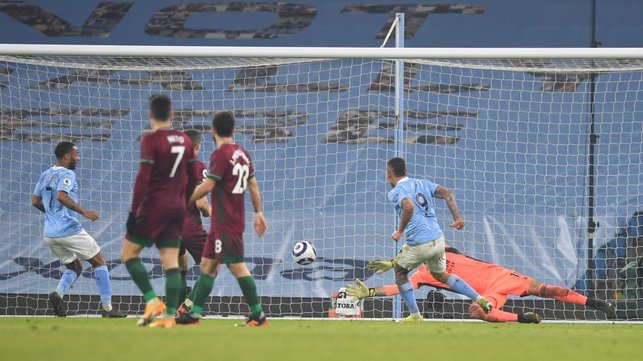 CHERRY ON TOP: Gabriel Jesus pokes home with the last kick of the game