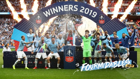FOURMIDABLES: City lifted the FA Cup with a 6-0 thrashing of Watford at Wembley