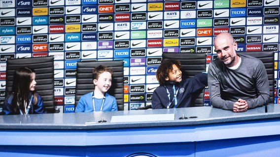 PEP TALK: Augmented reality allows fans to sit next to Pep Guardiola in a press conference