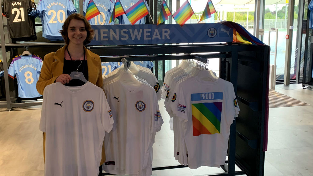 CITY STORE : The Pride shirts on display in the City Store