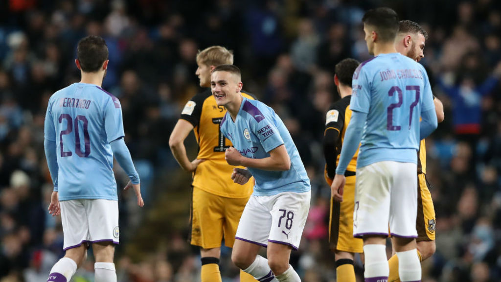 MAGIC MOMENT: Taylor Harwood-Bellis celebrates his first senior City goal against Port Vale last season