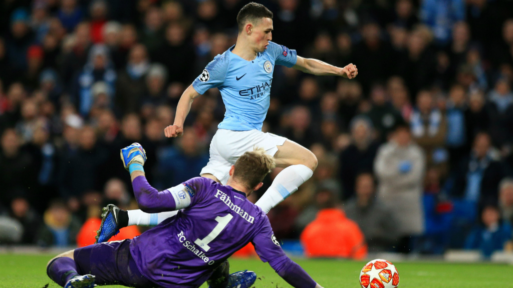 PHIL OF THE FUTURE : Youngster Phil Foden gets in on the act, rounding the 'keeper and slotting home!