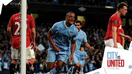 COMETH THE CAPTAIN: Vincent Kompany headed in a pivotal winner in the April 2012 derby