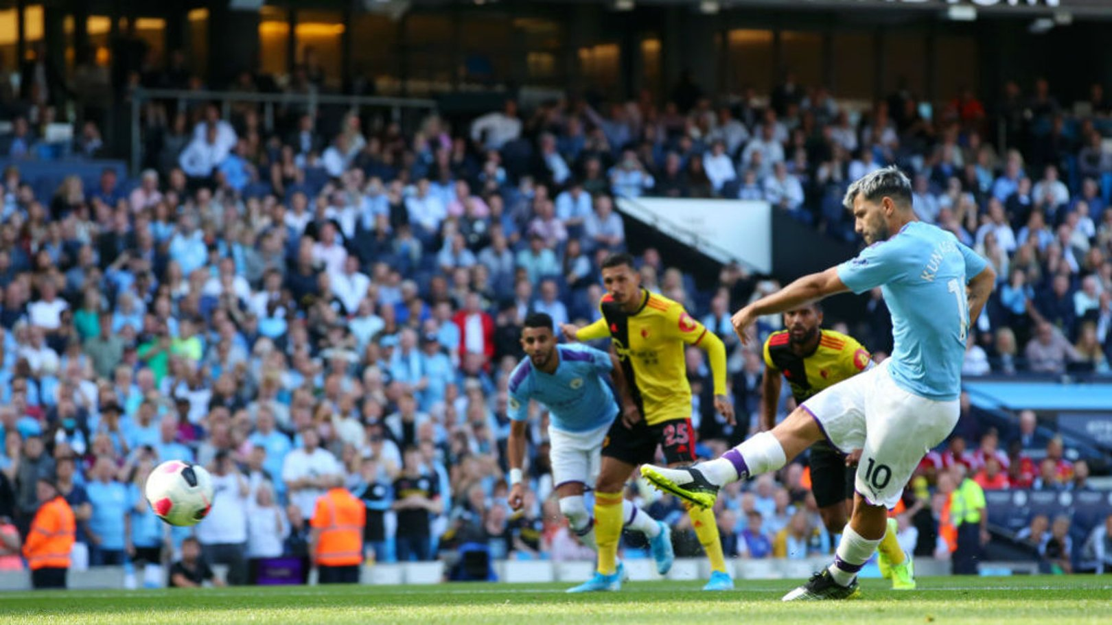 TON UP: Aguero has bagged 100 Premier League goals at the Etihad