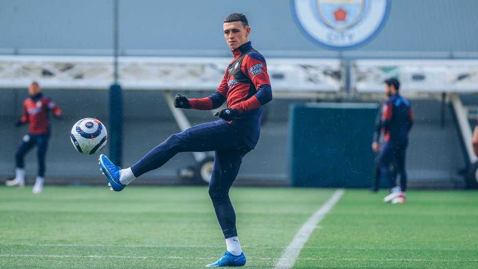 BOY WONDER : Phil Foden testing his immaculate touch in Friday's session.