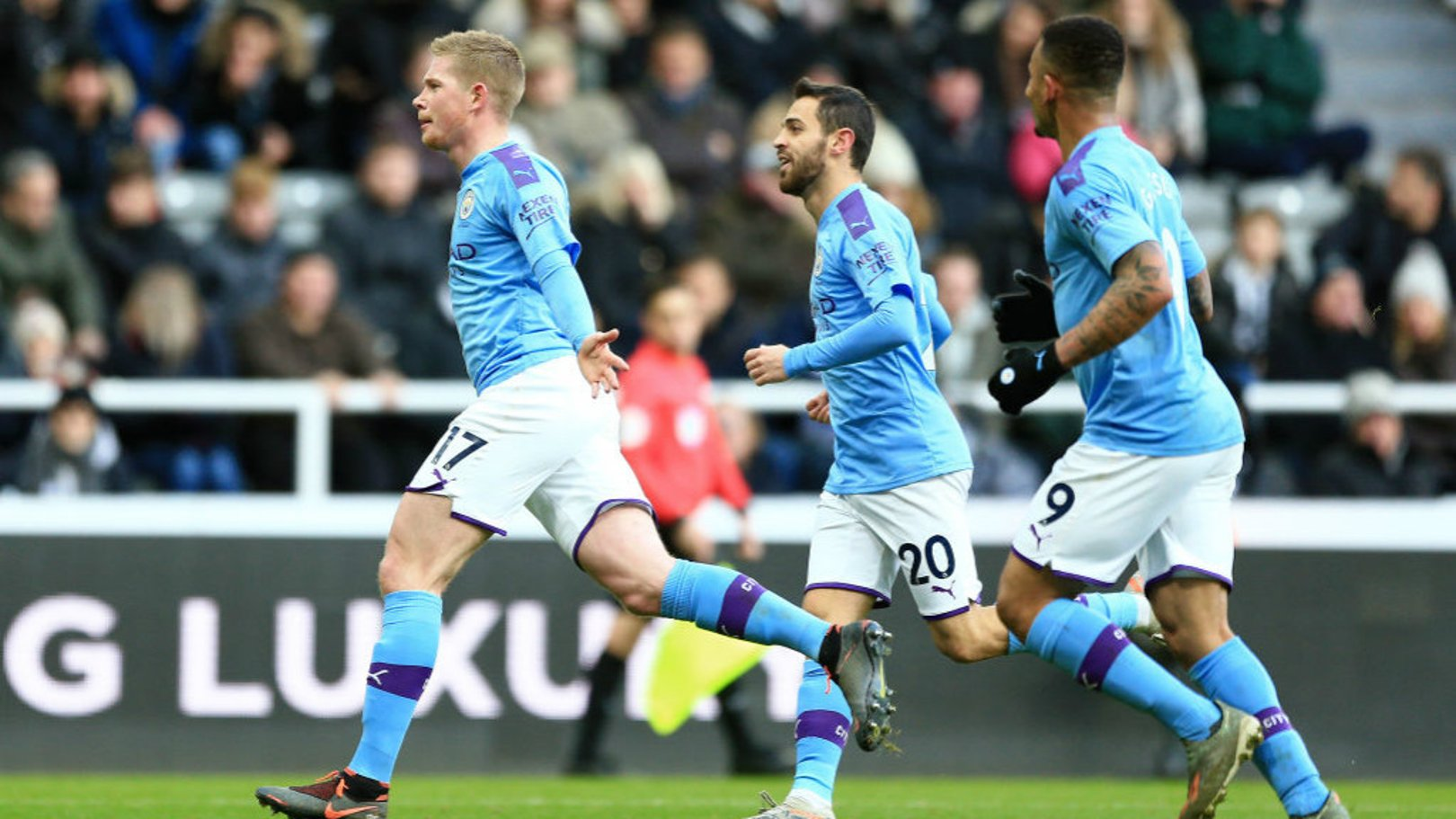 TOP DRAW: Kevin De Bruyne celebrates against Newcastle United.