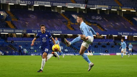 FLYING FODEN: Phil Foden plucks an aerial ball out of the sky
