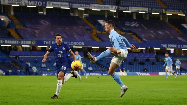 FLYING FODEN: Phil plucks an aerial ball out of the sky