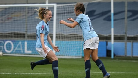 GET IN: Georgia Stanway celebrates with Keira Walsh.