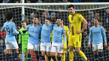 PHIL YOUR BOOTS: Phil Foden celebrates after finding the target