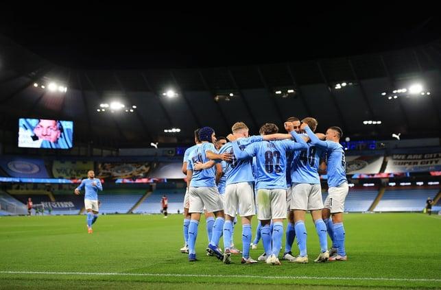 : Team celebration for Delap's goal