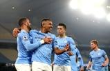 Gabriel Jesus celebrates his goal against Wolverhampton Wanderers