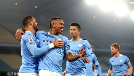 Gabriel Jesus celebrates his goal against Wolverhampton Wanderers