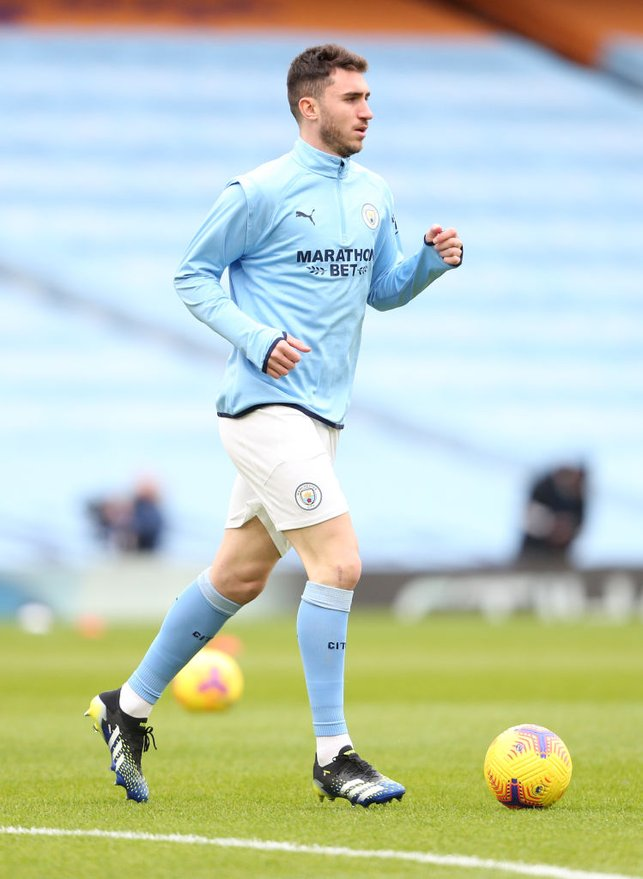 AYMING HIGH : Laporte gets a feel of the ball as he also gets his name back in the starting lineup!
