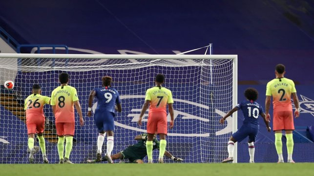HAMMER BLOW : Willian converts from the resulting penalty to earn the victory for the hosts.