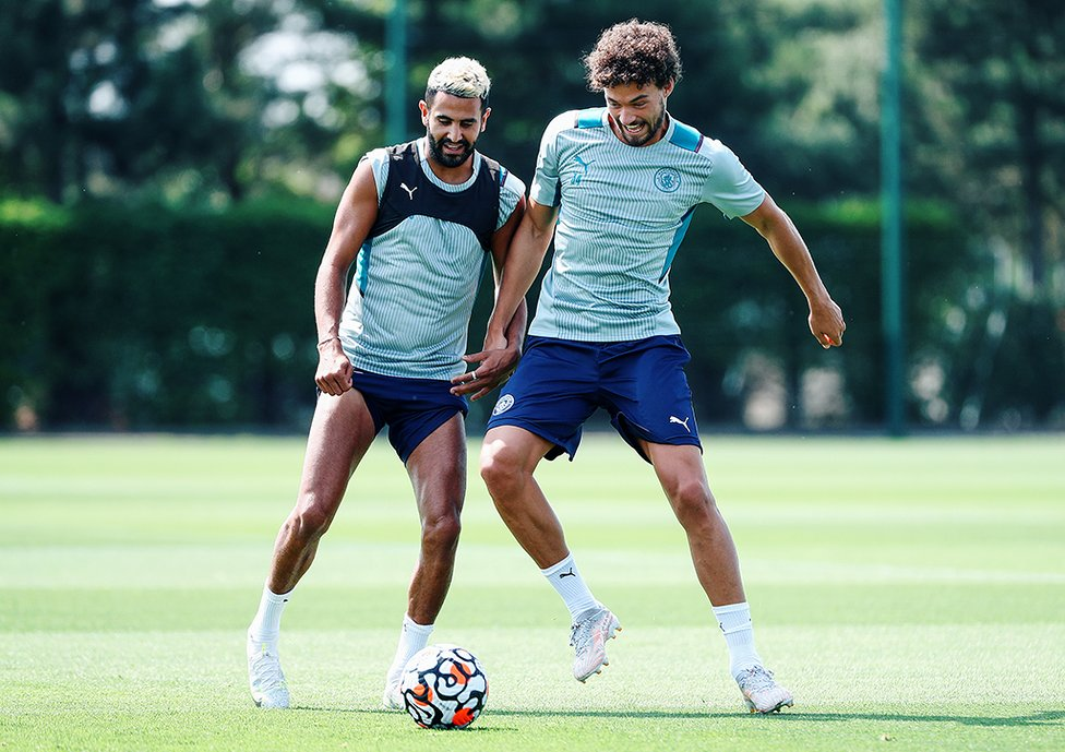 ON THE BALL: Riyad Mahrez and Philippe Sandler vie for possession