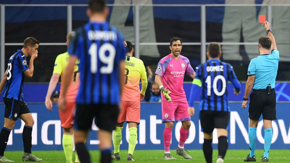 OFF : Claudio Bravo is shown the red card after his challenge on llicic