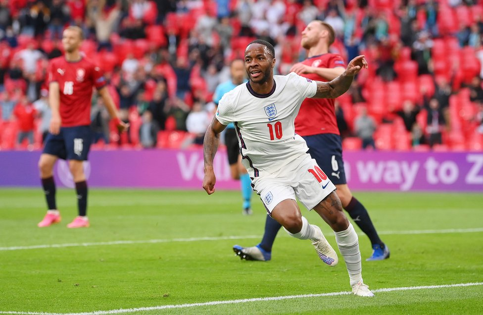 CZECH HIM OUT : Another goal for Raheem Sterling as Gareth Southgate's men defeated the Czech Republic