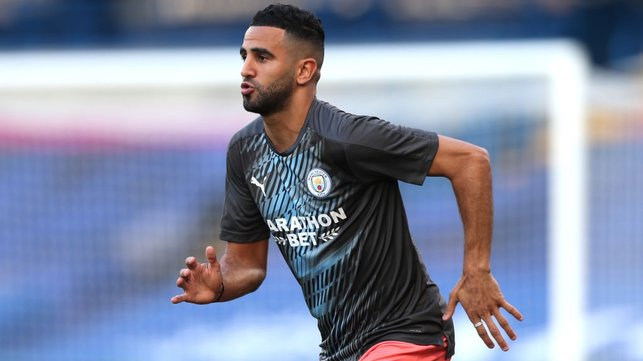 FOCUS : Mahrez has his game face on as final preparations come to a close.