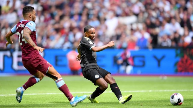 CLINICAL : Raheem Sterling opens his Premier League account with a left-footed finish.