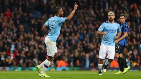 CLINICAL: Raheem Sterling celebrates against Atalanta.