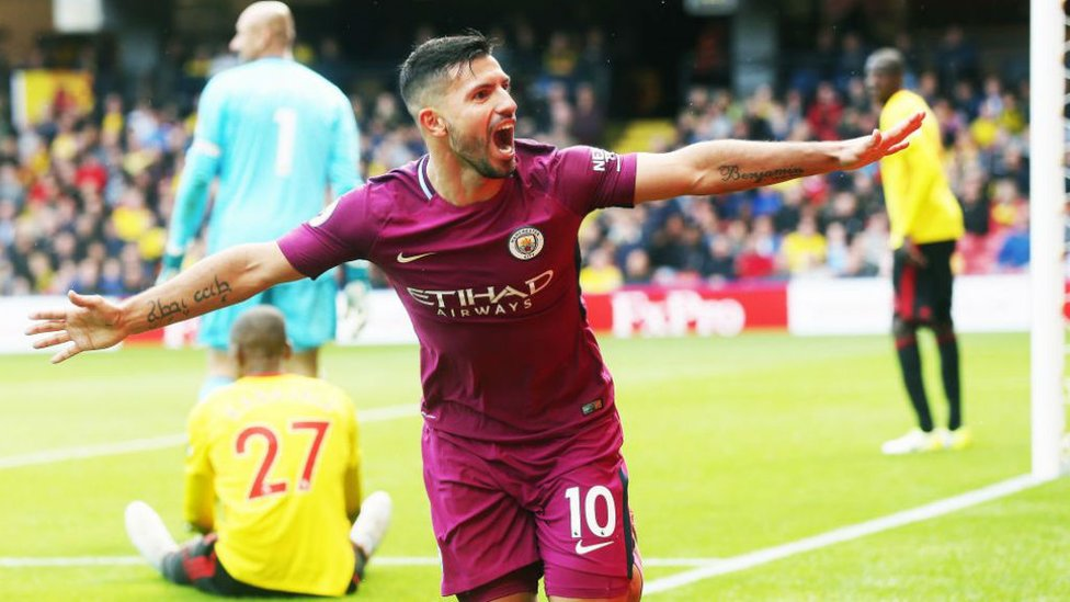WAT A PLAYER : Aguero wheels away in delight after claiming his latest City hat-trick, this time in our 6-0 win away at Watford in September 2017