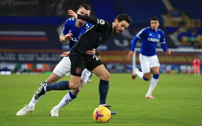BATTLING BERNARDO : Bernardo Silva looks to break into the Everton box early on.