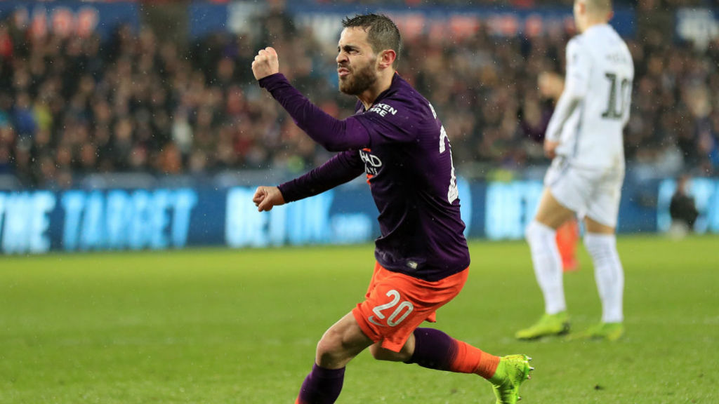 BACK IN THE GAME : Bernardo celebrates after his stunning strike narrowed the deficit