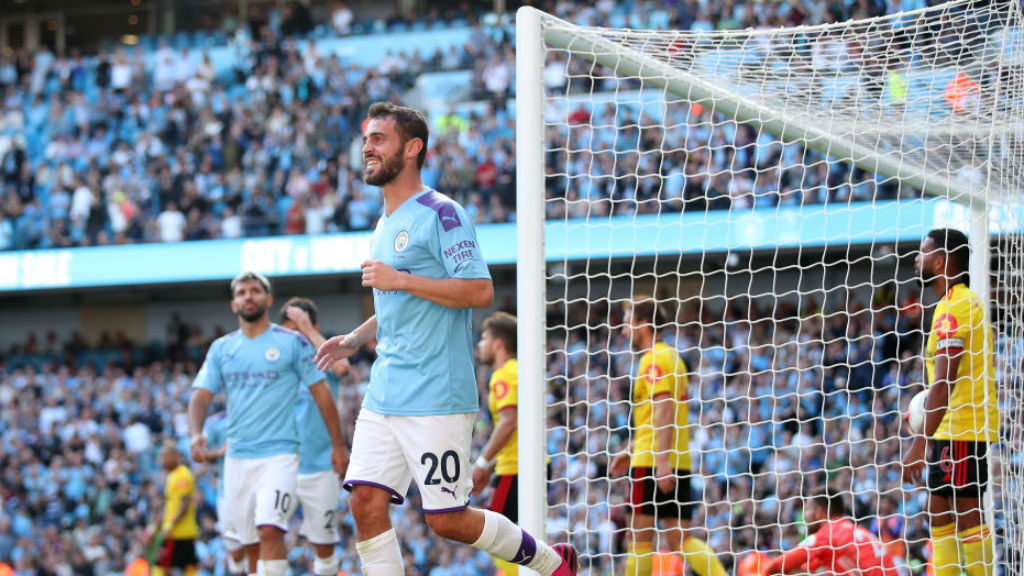SEVEN UP : Bernardo Silva is all smiles after completing his hat-trick