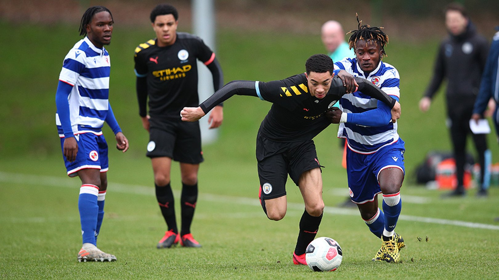 WING COMMAND: Sam Edozie in action for City Under 18s in our U18 PL Cup semi-final win at Reading