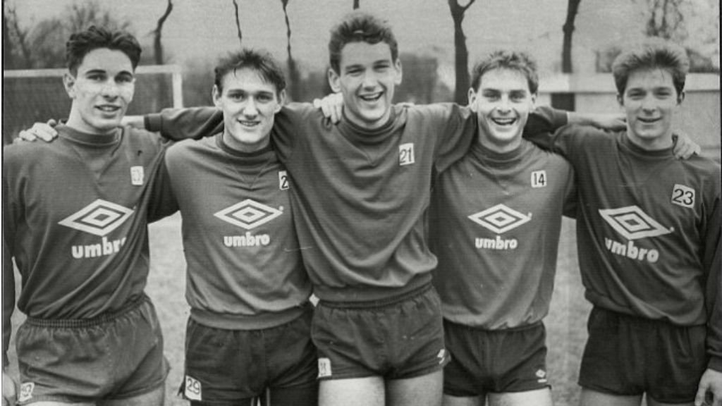 FIVE STAR BLUES: Paul Lake, Andy Hinchcliffe, David White, Steve Redmond and Ian Brightwell were key components in our 1986 FA Youth Cup winning side